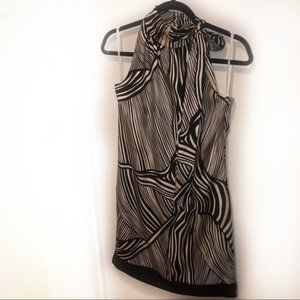 WHBM NECK TIE ABSTRACT STRIPED SILK DRESS 0 XS